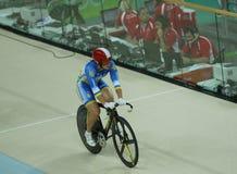 乌克兰的骑自行车者Liubov Basova在里约2016奥林匹克妇女` s keirin第一回合热4以后的在里约奥林匹克室内自行车赛场 库存照片