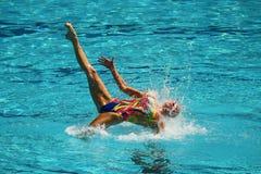 乌克兰的洛丽塔Ananasova和安娜Voloshyna任意竞争在花样游泳二重奏里约的惯例初阶期间2016年 库存照片