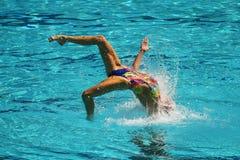 乌克兰的洛丽塔Ananasova和安娜Voloshyna任意竞争在花样游泳二重奏里约的惯例初阶期间2016年 免版税库存照片