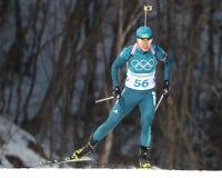 乌克兰的Yuliia Dzhima在两项竞赛妇女` s 15km个体竞争在2018年冬奥会 免版税库存照片