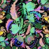 乌克兰种族绘画 Petrikovskaya绘画 背景构成旋花植物空白花的郁金香 风格化花 无缝的背景 使用铅印材料 库存例证