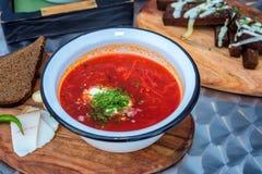 乌克兰罗宋汤汤和葱在桌上 库存图片