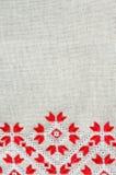 乌克兰语被绣的民间样式装饰品 种族纹理设计  由红色和白色螺纹的被绣的元素 库存照片