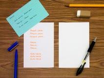 乌克兰语;学会在笔记本的新的语言文字词 免版税库存图片