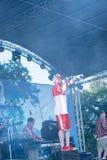 乌克兰说唱艺术家Yarmak 2018年5月27的音乐会日在节日在切尔卡瑟,乌克兰 免版税库存照片