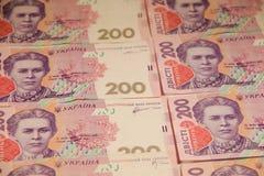 乌克兰货币 二百张hryvnia钞票背景  免版税库存图片