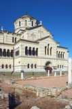 乌克兰,克里米亚,在Chersonese古城的废墟 免版税库存照片