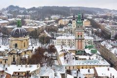 乌克兰,利沃夫州- 2016年12月, 15日:冬日在利沃夫州 看法  库存图片