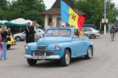 乌克兰, KAMYANETS-PODILSKY - 2009年6月06日 减速火箭的汽车节日在Kamyanets-Podilsky,乌克兰 免版税库存图片