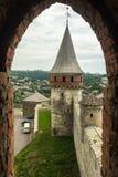 乌克兰, Kamyanets-Podolskiy,城堡的塔 库存图片