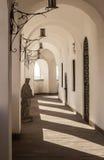 乌克兰, Mukacheve,在城堡墙壁的光 库存照片