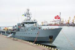 乌克兰, Odesa - 2017年3月, 18日:在傲德萨口岸军事船 库存图片