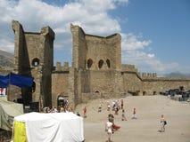 乌克兰 克里米亚 热那亚人的堡垒在Sudak 免版税库存图片