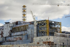 乌克兰 切尔诺贝利禁区 - 2016年 03 19 核电站正面图 库存照片