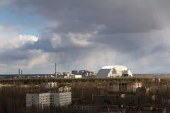 乌克兰 切尔诺贝利禁区 - 2016年 03 19 核电站 从Pripyat的看法 库存照片