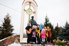 乌克兰 利沃夫州- 2016年1月14日:圣诞节诞生场面 免版税图库摄影
