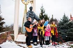 乌克兰 利沃夫州- 2016年1月14日:圣诞节诞生场面 免版税库存图片