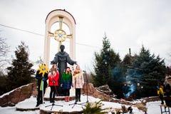 乌克兰 利沃夫州- 2016年1月14日:圣诞节诞生场面 库存照片