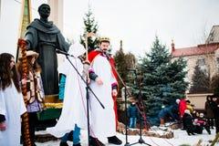 乌克兰 利沃夫州- 2016年1月14日:圣诞节诞生场面 库存图片