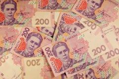 乌克兰货币 二百张hryvnia钞票的背景 库存照片