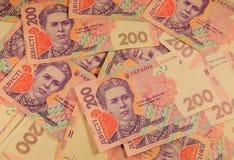 乌克兰货币 二百张hryvnia钞票背景  免版税库存照片