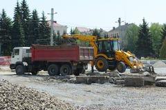乌克兰 捷尔诺波尔 室外外部修理工作 05 04 2017年 免版税库存图片