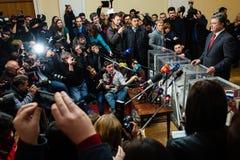 乌克兰总统Petro波罗申科对提前举行大选t投票了 图库摄影