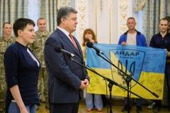 乌克兰Nadiya Savchenko的英雄在从俄国p的解放以后 免版税库存图片