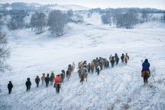 乌兰Buh草原在冬天 免版税库存图片