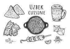 乌兹别克人烹调菜单 库存图片