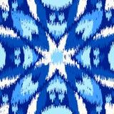 乌兹别克人ikat丝织物样式、靛蓝色和白色 库存图片