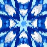 乌兹别克人ikat丝织物样式、靛蓝色和白色 免版税库存图片