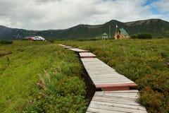 乌宗火山破火山口的管理 克罗诺基火山在堪察加半岛的自然保护 免版税库存图片