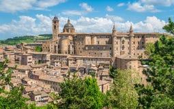 乌尔比诺、城市和世界遗产名录站点在意大利的马尔什地区 免版税图库摄影
