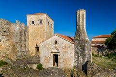 乌尔齐尼老镇博物馆在一个古老堡垒 黑山 库存照片