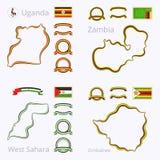 乌干达、赞比亚、西撒哈拉和津巴布韦的颜色 向量例证
