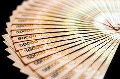 乌干达人50,000先令钞票 库存图片