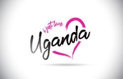 乌干达我爱与手写的字体和桃红色心形的词文本 库存照片