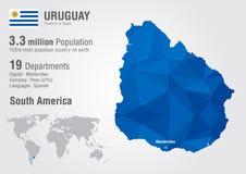 乌拉圭与映象点金刚石纹理的世界地图 库存例证
