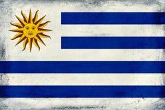 乌拉圭背景葡萄酒国旗  免版税图库摄影