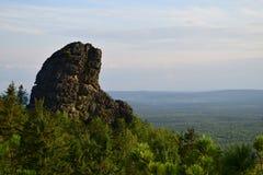 乌拉尔山脉加盖观察视图 库存图片