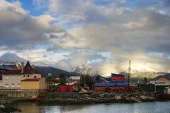 乌斯怀亚镇在火地群岛,阿根廷 图库摄影