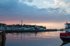 乌斯特卡海边镇 夏天在海边 库存照片