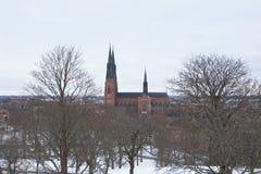 乌普萨拉大教堂在冬天之前 库存图片