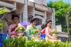 乌汶叻差他尼,泰国- 2015年4月13日:美好的游行 库存照片