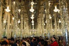 乌泰他尼府,泰国- 2019年1月12日:唱歌的Wat南塔河看法或Wat Chantharam或玻璃镜子寺庙,这著名的和 免版税库存图片