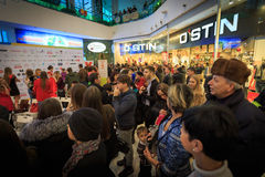 乌里扬诺夫斯克,俄罗斯, 2016年12月03日:购物中心的选美乌里扬诺夫斯克小姐2016年12月03日在乌里扬诺夫斯克,俄罗斯 免版税图库摄影