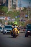 乌里扬诺夫斯克,俄罗斯- 2016年4月30日摩托车季节开头 每年摩托车扇动会议和游行 俄国车手 免版税库存照片
