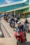 乌里扬诺夫斯克,俄罗斯- 2016年4月30日摩托车季节开头 每年摩托车扇动会议和游行 免版税图库摄影
