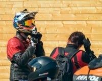 乌里扬诺夫斯克,俄罗斯- 2016年4月30日摩托车季节开头 每年摩托车扇动会议和游行 图库摄影